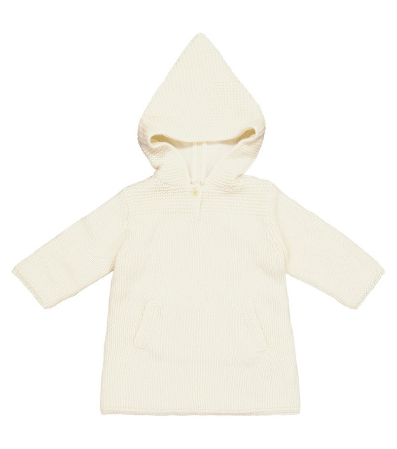 Bonpoint Baby hooded cashmere coat in white