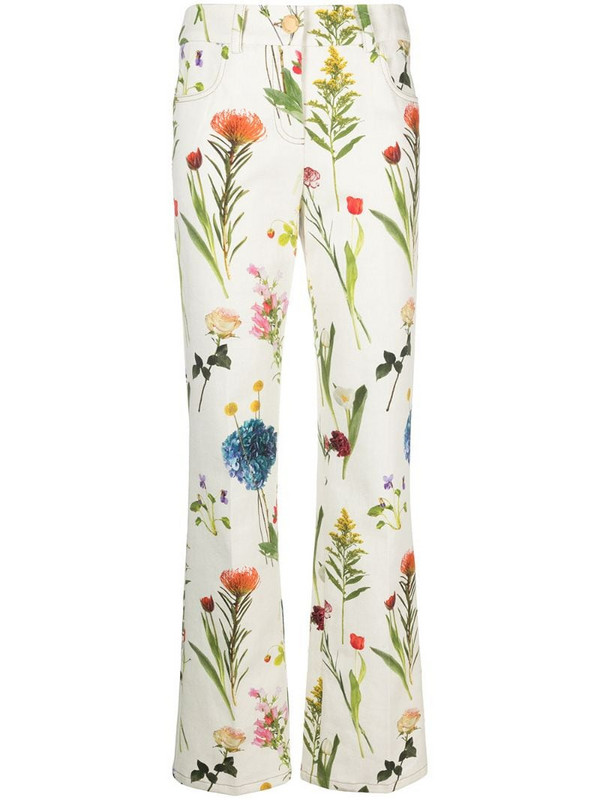 Boutique Moschino floral-print low-rise trousers in green