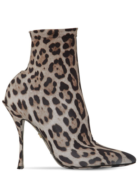 DOLCE & GABBANA 90mm Leopard Stretch Jersey Ankle Boots