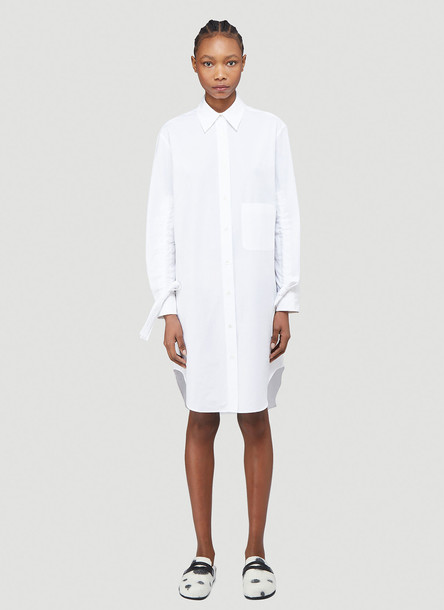 J.W. Anderson Gathered Sleeve Shirt Dress in White size UK - 10