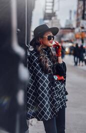 gracefullee made,blogger,coat,top,shoes,gloves,hat,sunglasses
