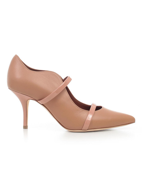 Malone Souliers Pumps Nappa W/patent Details Heel 70 in blush