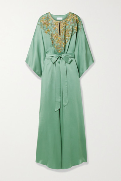 Marchesa - Belted Embellished Satin Gown - Gray green