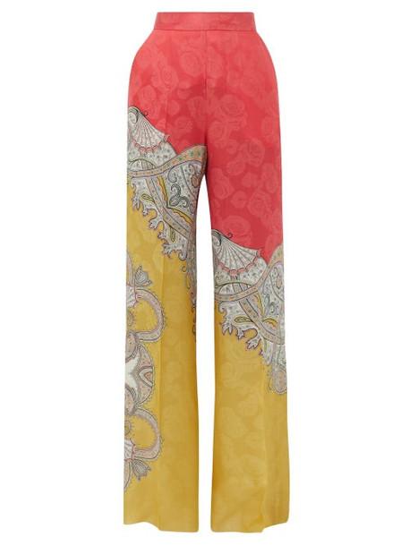 Etro - Paisley-print Floral-jacquard Crepe Trousers - Womens - Orange Multi
