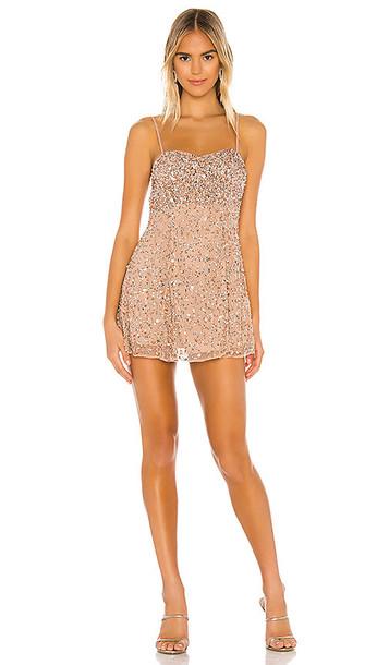 MAJORELLE Rhodes Mini Dress in Metallic Neutral