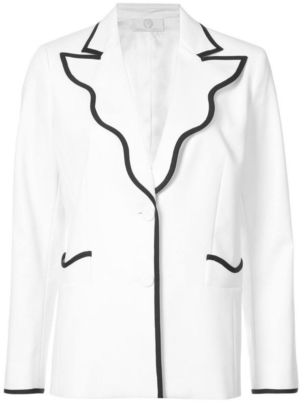 Sara Battaglia contrast-trim fitted blazer in white