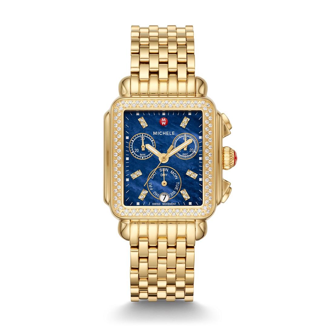 Michele Signature Deco Gold Diamond Watch  Jewelry - MWW06P000288