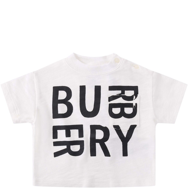Burberry White Baby Girl T-shirt With Black Logo
