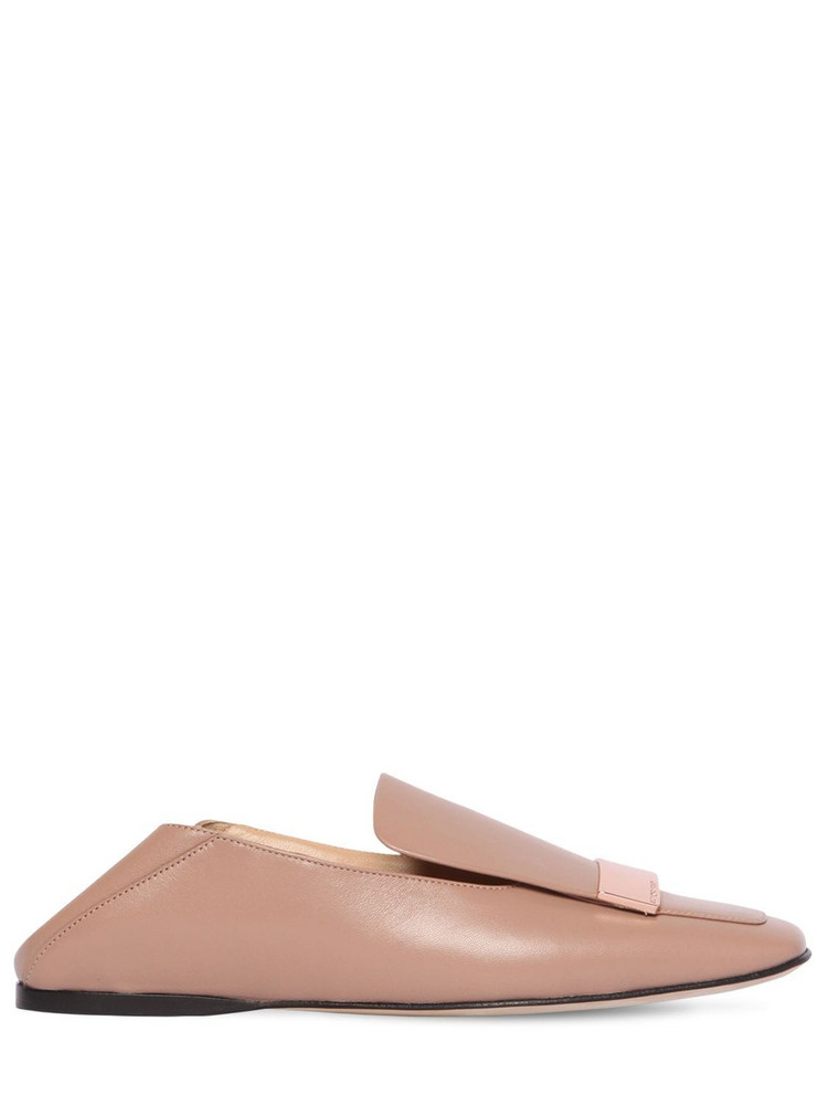 SERGIO ROSSI 10mm Metal Plaque Leather Loafers in blush