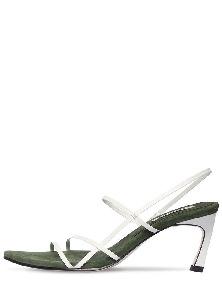 REIKE NEN 70mm Leather Sandals in khaki / white