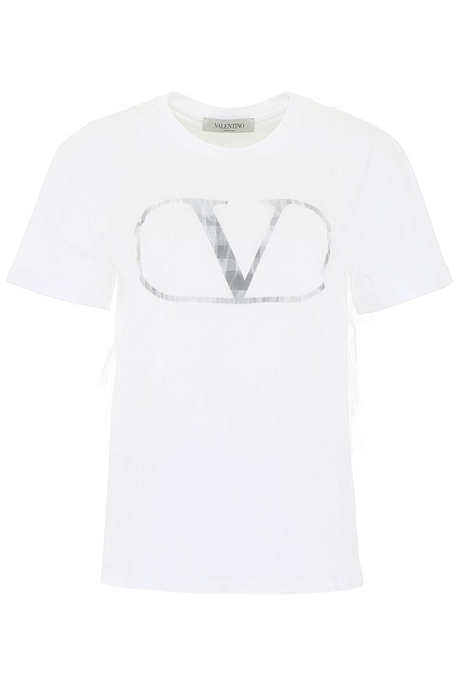 Valentino Tulle Go Logo T-shirt in nero / bianco
