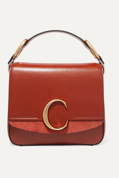 Chloé Chloé - Chloé C Small Suede-trimmed Leather Shoulder Bag - Brown