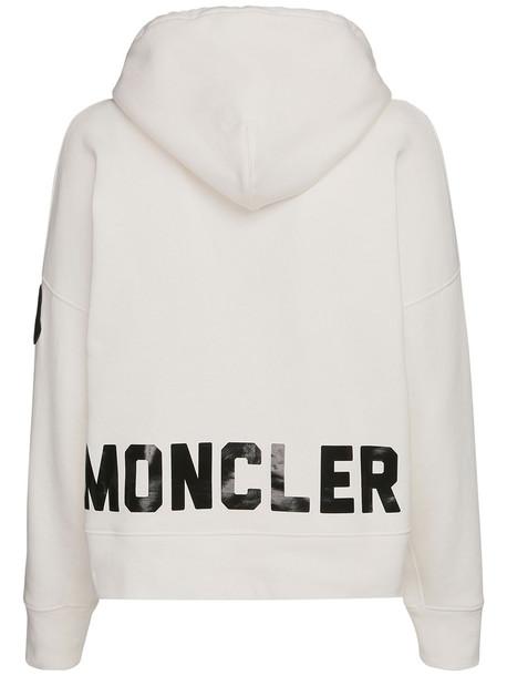 MONCLER Logo Print Jersey Sweatshirt Hoodie in black / white