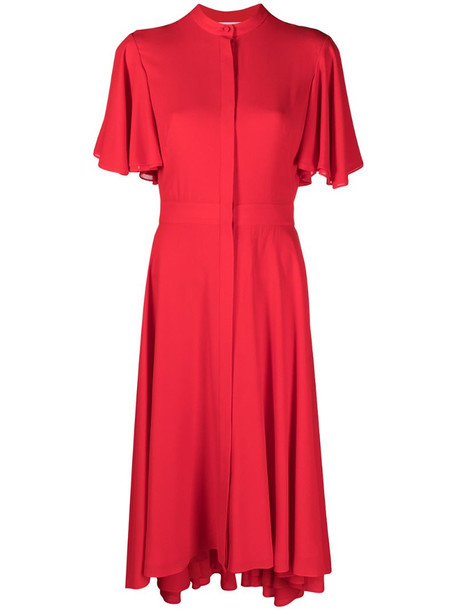 Alexander McQueen flared short-sleeved midi dress in red