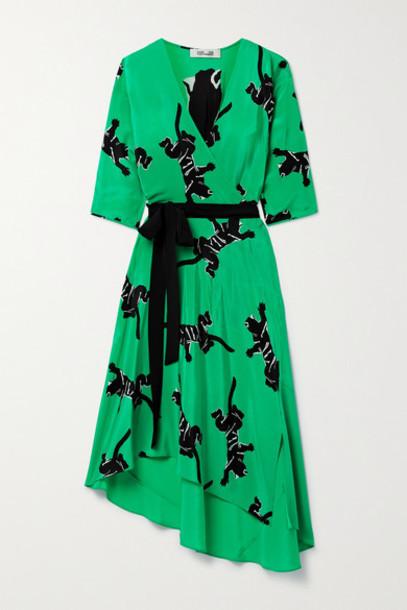 Diane von Furstenberg - Eloise Asymmetric Printed Silk Crepe De Chine Wrap Dress - Green