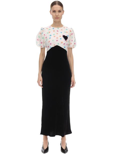 RIXO Daisy Embellished Velvet Midi Dress in black / white