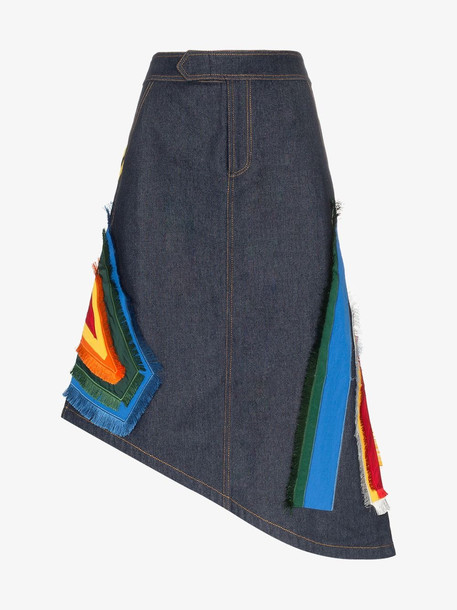 ANGEL CHEN embroidered denim skirt