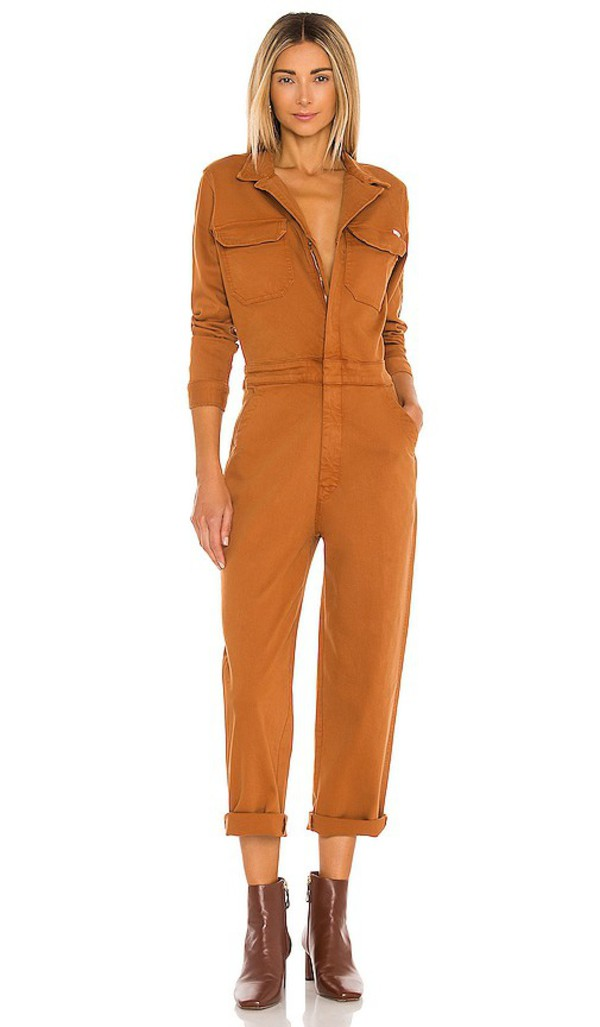 MOTHER The Fixer Jumpsuit in Rust in brown