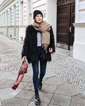 jacket,faux fur jacket,black boots,cropped jeans,skinny jeans,bag,sweater,scarf,beanie