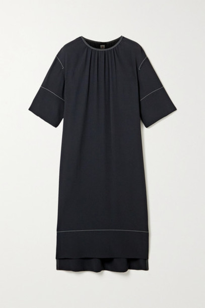 Marni - Satin-crepe Dress - Midnight blue