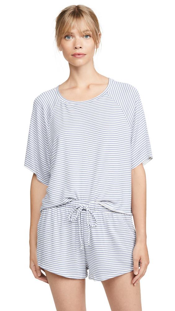 Eberjey Sadie Stripe Varsity Top in blue / ivory