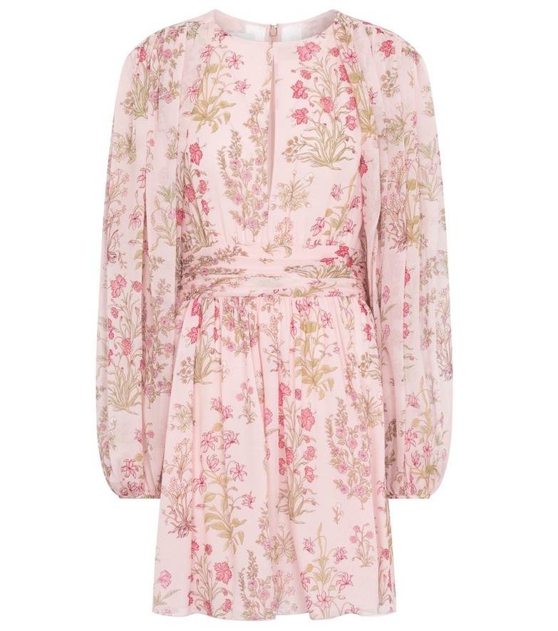 GIAMBATTISTA VALLI Floral silk georgette minidress in pink