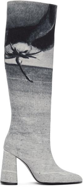 KIMHĒKIM Blue Denim Printed Tall Boots in print