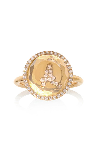Noush Clear Quartz Hidden Treasure Roman Initial Ring Size: 3 in gold