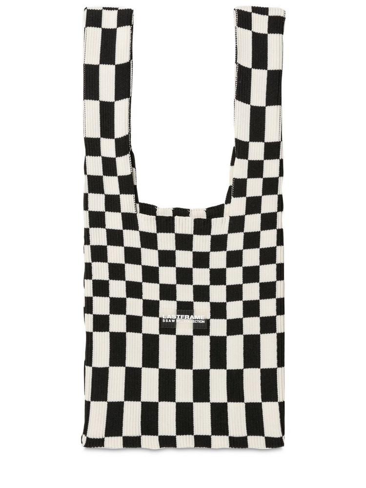 LASTFRAME Medium Ichimatsu Rib-knit Shoulder Bag in black / ivory