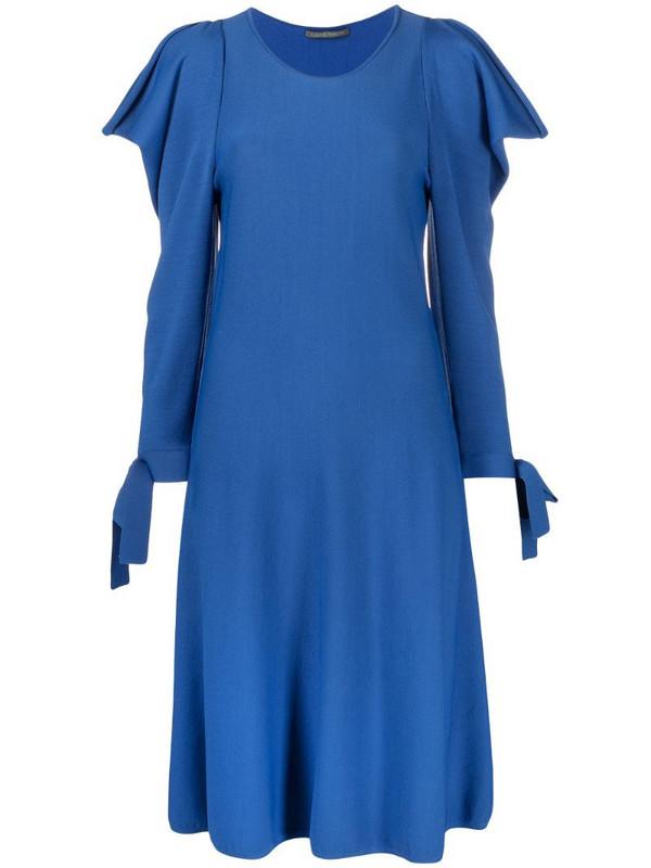 Alberta Ferretti ruffled long-sleeved midi dress in blue