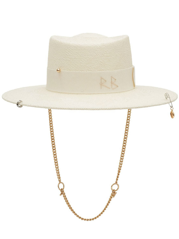 RUSLAN BAGINSKIY Chain Strap Straw Gambler Hat in white
