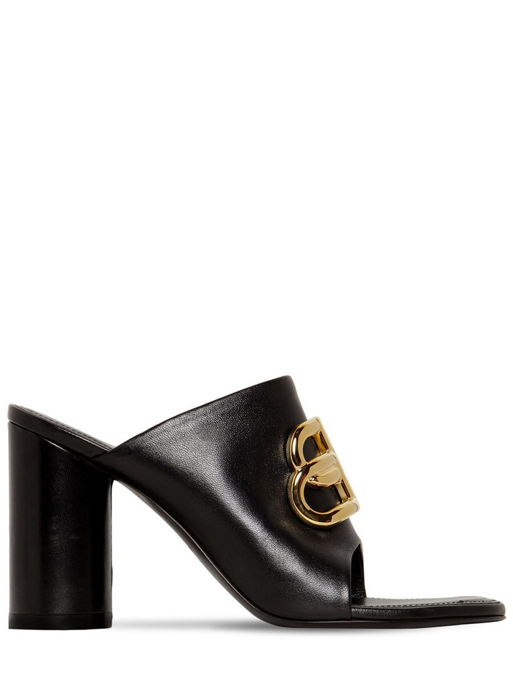 BALENCIAGA 90mm Oval Bb Leather Mules in black