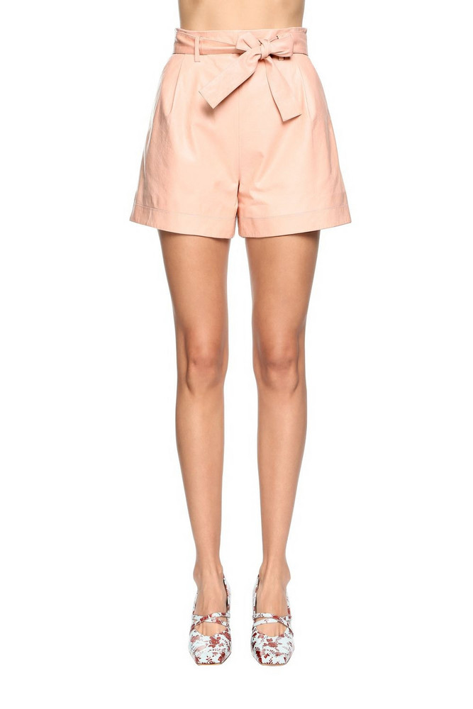 DROME High Waist Leather Shorts in pink