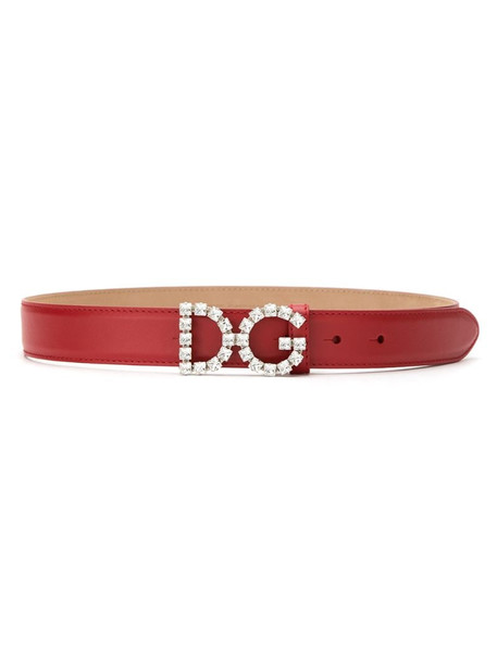 Dolce & Gabbana embellished DG buckle belt in red