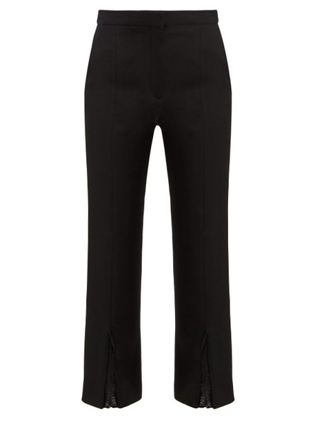 Alexander Mcqueen - Lace Trimmed Split Cuff Tailored Trousers - Womens - Black