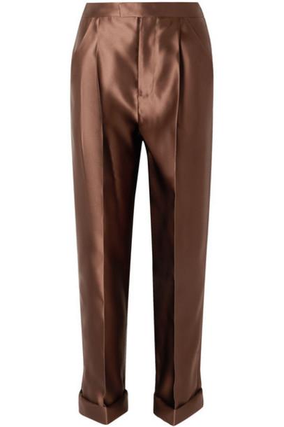 TOM FORD - Silk-satin Pants - Brown