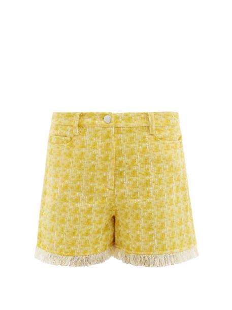 Staud - Sorno Fringed Tweed Shorts - Womens - Yellow