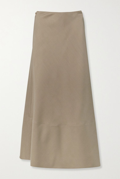 The Row - Ava Mohair And Wool-blend Wrap Maxi Skirt - Light brown