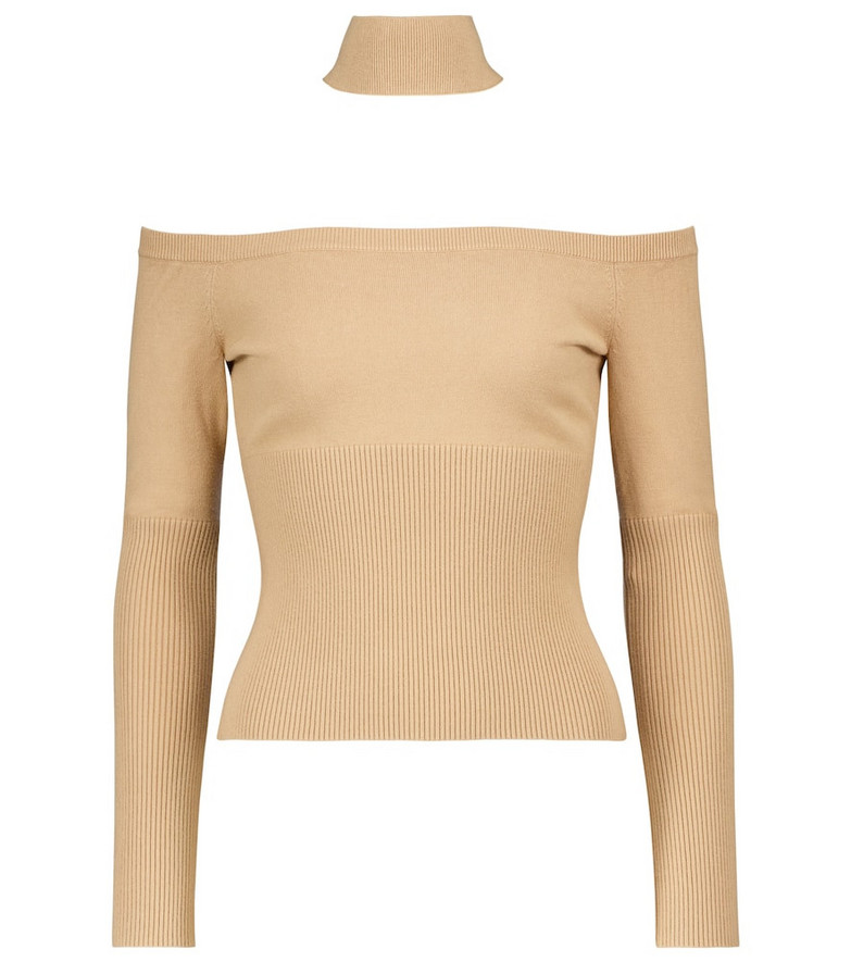 Jonathan Simkhai Lila ribbed-knit off-shoulder sweater in beige