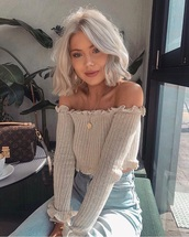 top,knitwear,off the shoulder,sweater,ruffle