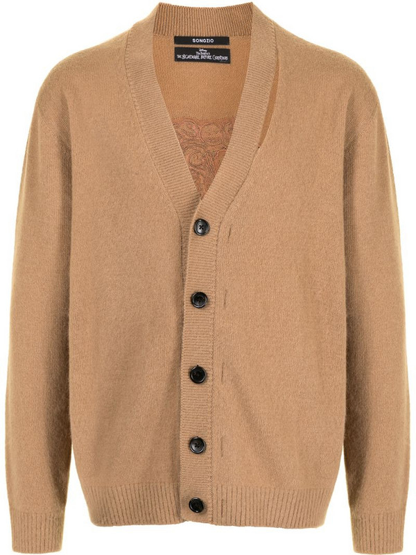 SONGZIO tonal-embroidered buttoned cardigan in brown