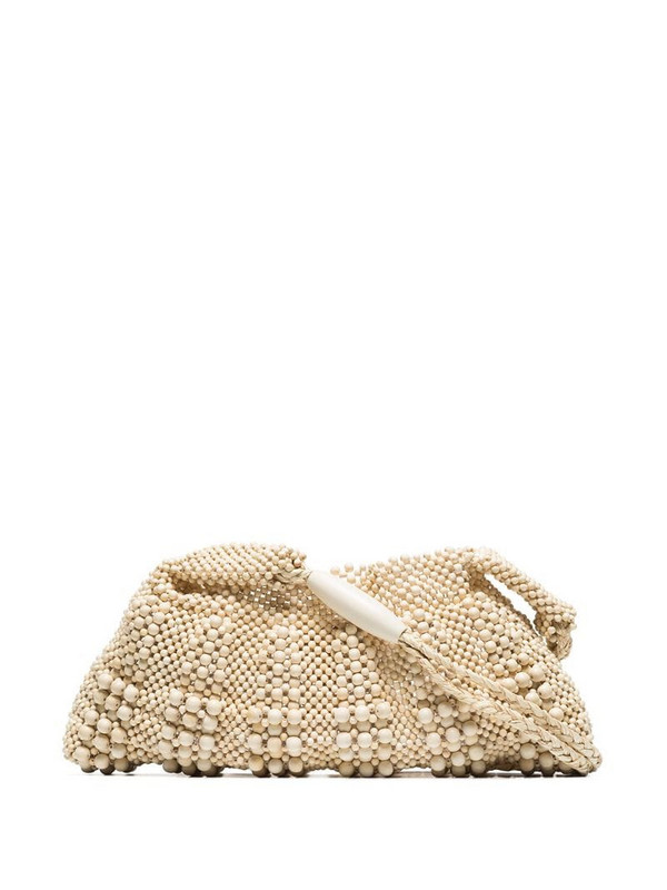 Aranaz beige beaded shoulder bag in neutrals
