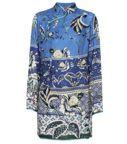 F.R.S For Restless Sleepers Menezio floral silk-blend dress in blue