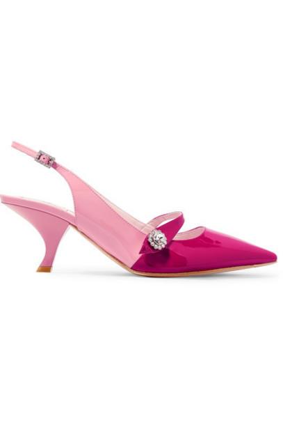 Roger Vivier - Embellished Two-tone Patent-leather Slingback Pumps - Pink