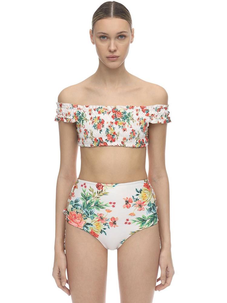AGUA BENDITA Cecilia Stretch Bikini Top in white / multi