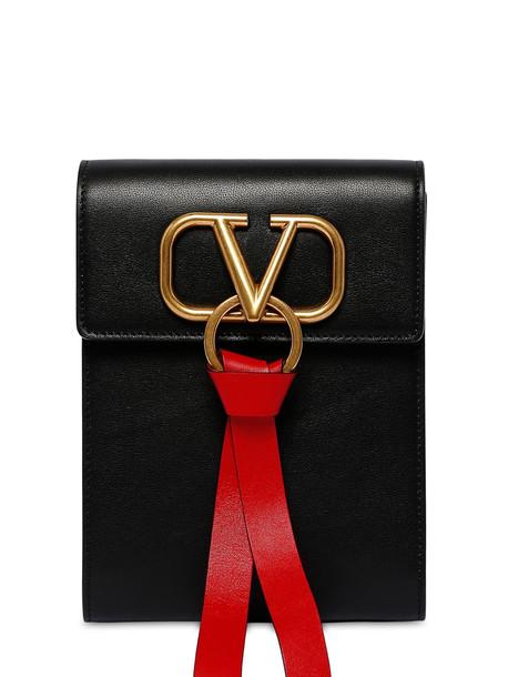 VALENTINO GARAVANI Mini Vring Ribbon Leather Backpack in black