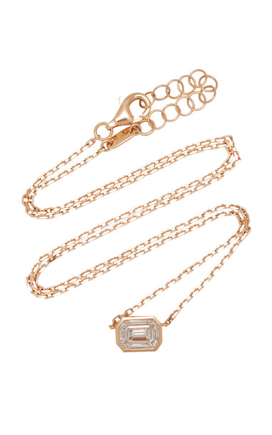 AS29 Illusion 18K Rose Gold Diamond Necklace in pink