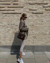 jacket,grey blazer,louis vuitton bag,leggings,white sneakers