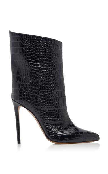 Alexandre Vauthier Alex Croc-Effect Leather Ankle Boots Size: 36