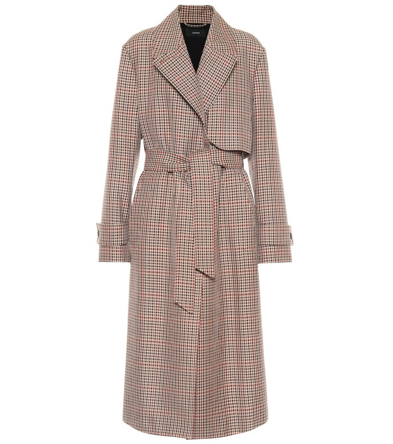 Joseph Checked wool-blend trench coat in brown